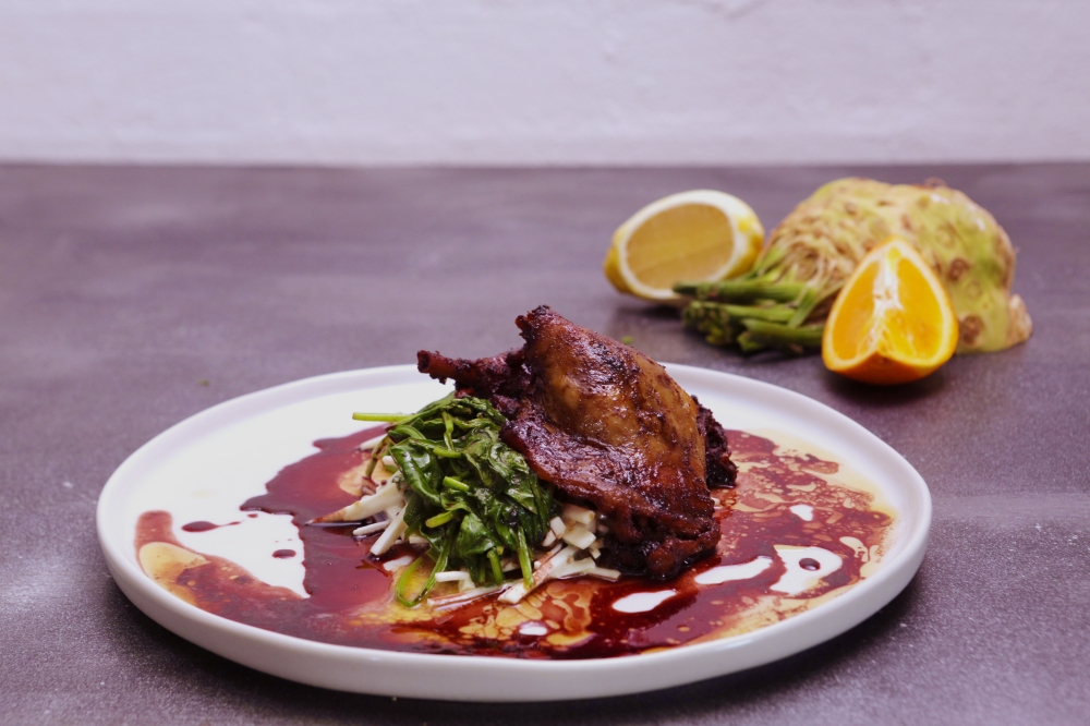 Duck Confit with Celeriac, Spinach and Red Wine Glaze