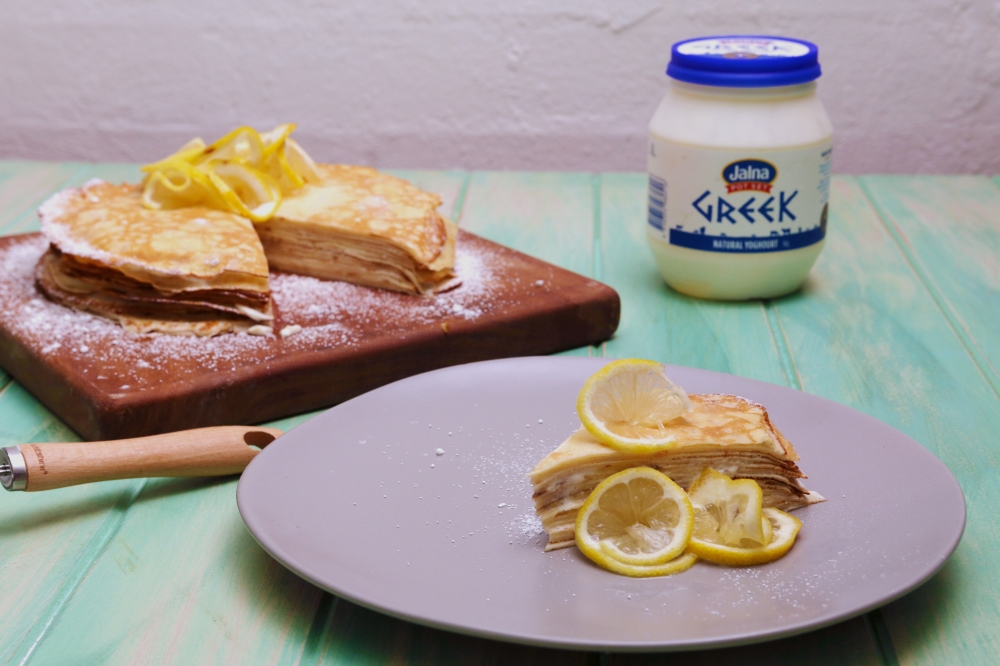 Crepe Cake with Lemon Yoghurt Cream