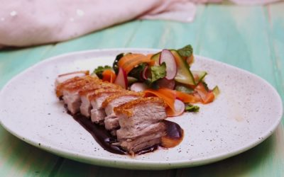 Crispy Pork Belly with Ribbon Salad