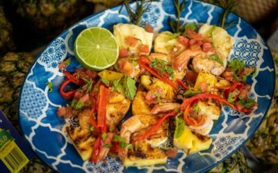 Prawn, Pineapple and Haloumi Cheese Skewers