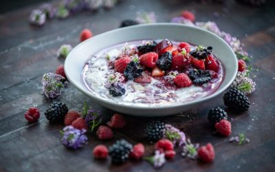 Creamy Coconut Porridge with Stewed Seasonal Fruit