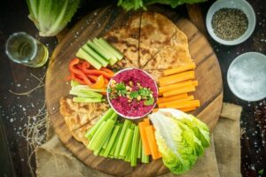 HORT1 Beetroot Hummus with Cos Lettuce - FEATURE