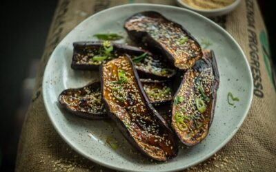 Sticky Eggplant with Sake, Miso and Sesame