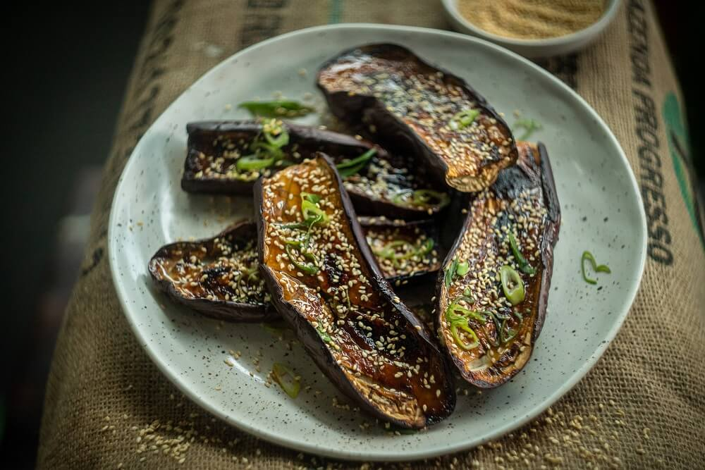 5086 Sticky Eggplant with Sake, Miso and Sesame - FEATURE