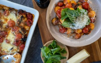 Gnocchi Bake with Black Olives and Cherry Tomatoes