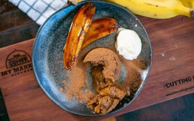 Dulce de leche Pudding, Caramelised Bananas and Coconut Ice Cream
