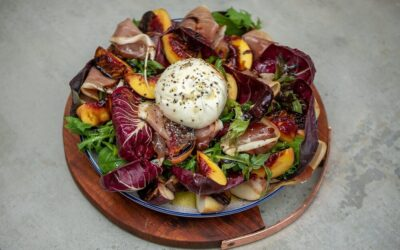 Grilled Peach, Burrata and Proscuitto Salad