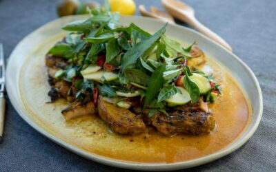 Pork Cutlets with Apple and Cucumber Relish