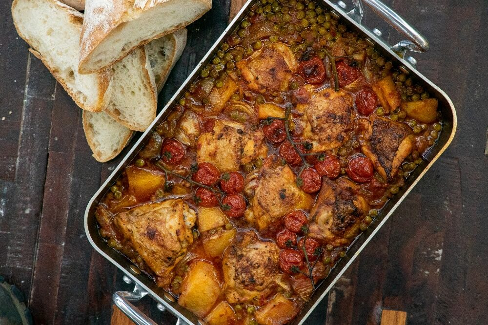 Roast Chicken with Peas and Potatoes