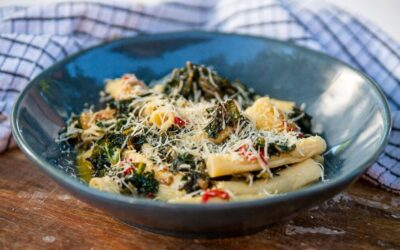 Green Garganelli with Braised Greens